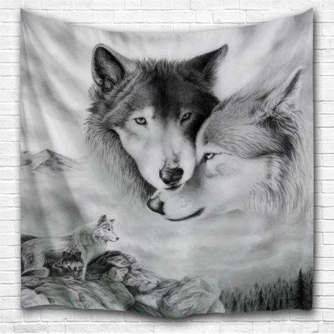 Discount Couple Wolves 3D Printing Home Wall Hanging Tapestry for Decoration