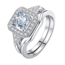 Micro Diamond Zircon Couple Ring -