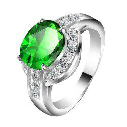 Large Gemstone Zircon Diamond Ring -