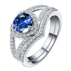 Heart - shaped Gemstone Encrusted Zircon  Couple Ring -
