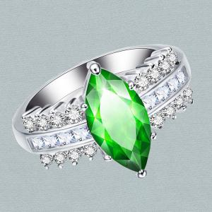 Bague en zircon à diamants artificiels -