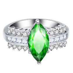 Leaves Artificial Diamond Zircon Ring -