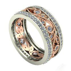 Two - tone Flower Diamond Ring -