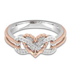 Heart Shaped Cross Couple Ring -
