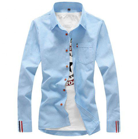 Outfit 2018 Men's Solid Color Shirt Fashion Stripe Casual Long Sleeve Shirt