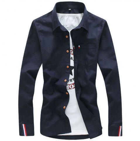 New 2018 Men's Solid Color Shirt Fashion Stripe Casual Long Sleeve Shirt