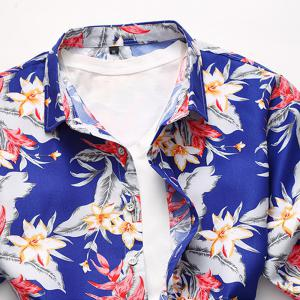 2018 New Men's Fashion Large Size Flower Shirt Casual Wild Short Sleeve Shirt -