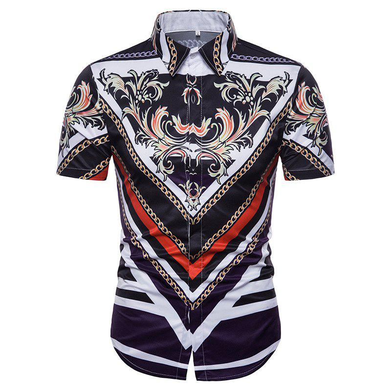 Discount Summer Men's 3D Printed Collar Short Sleeve Shirt