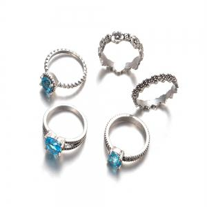 New Flower Blue Diamond and Joint Ring 5pcs Suite Accessories for Women -
