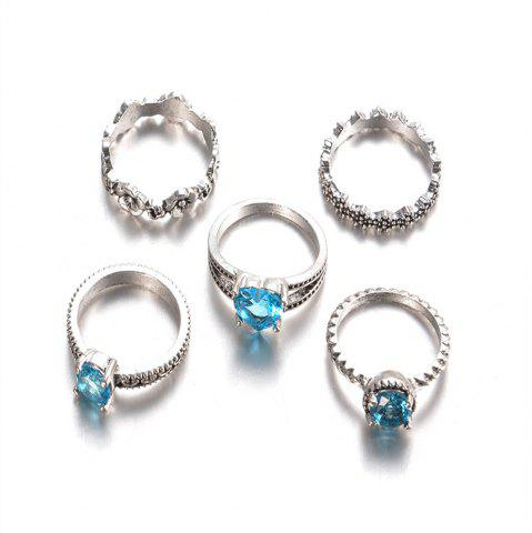 Best New Flower Blue Diamond and Joint Ring 5pcs Suite Accessories for Women