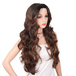 Red Super Long Body Wave Synthetic Hair Wigs Natural Hairline with Bang -