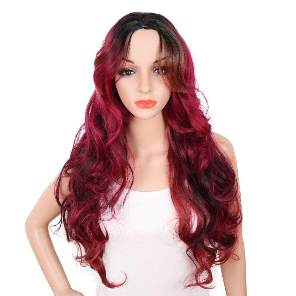 Best Red Super Long Body Wave Synthetic Hair Wigs Natural Hairline with Bang