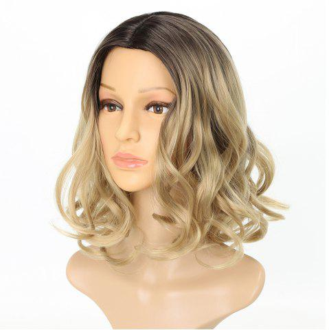 Outfits Light Blonde Ombre Fashion Fluffy Wavy Style Short Synthetic Hair Wig for Girls