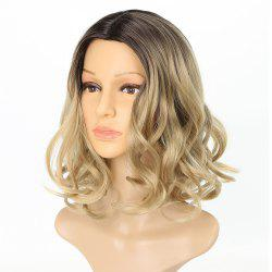Light Blonde Ombre Fashion Fluffy Wavy Style Short Synthetic Hair Wig for Girls -
