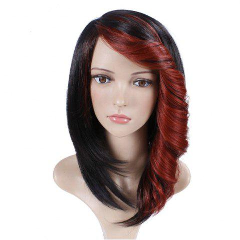 Latest Short Straight Synthetic Wig For Women Ombre Black to Red Hair With Curly Bang