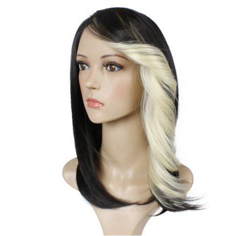 Fancy Short Straight Synthetic Wig For Women Ombre Black to Red Hair With Curly Bang