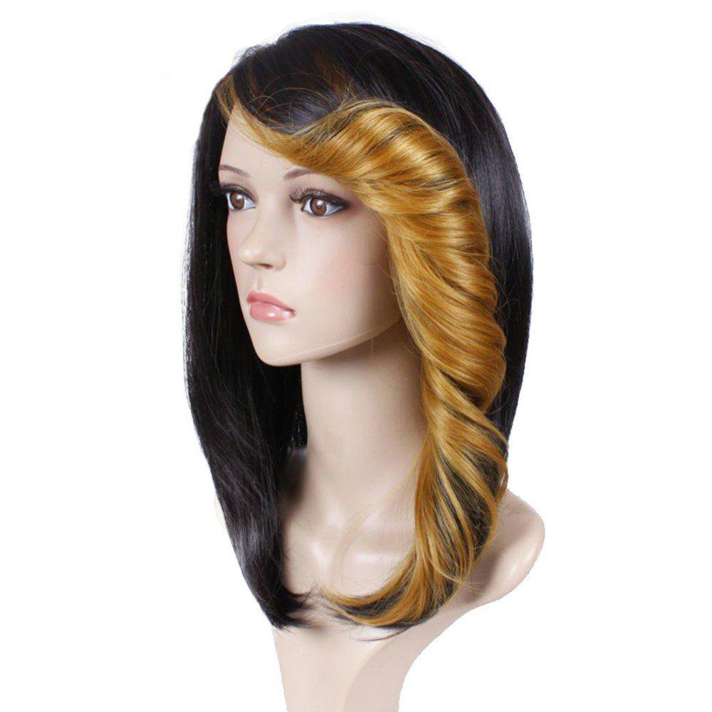 Outfits Short Straight Synthetic Wig For Women Ombre Black to Red Hair With Curly Bang