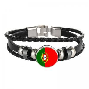 Creative Fashion Woven Leather Swiss Flag Time Gem Football Bracelet -