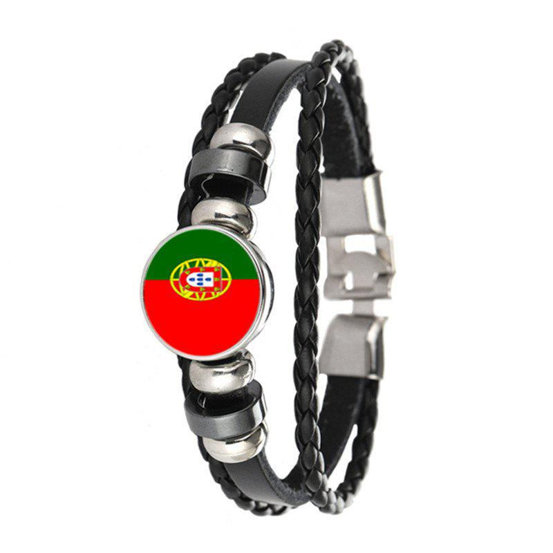 Buy Creative Fashion Woven Leather Swiss Flag Time Gem Football Bracelet