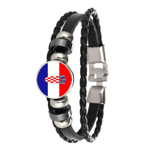 Créative Fashion Knit Cuir Croate Drapeaux Temps Gem Football Bracelet