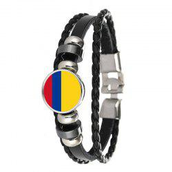 Créatrice de mode en cuir Knit Columbia drapeau temps Gem Football Bracelet -