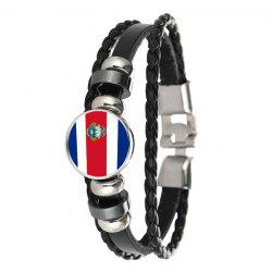 Mode Créative Knit Cuir Costa Rica Drapeau National Temps Gem Football Bracele -