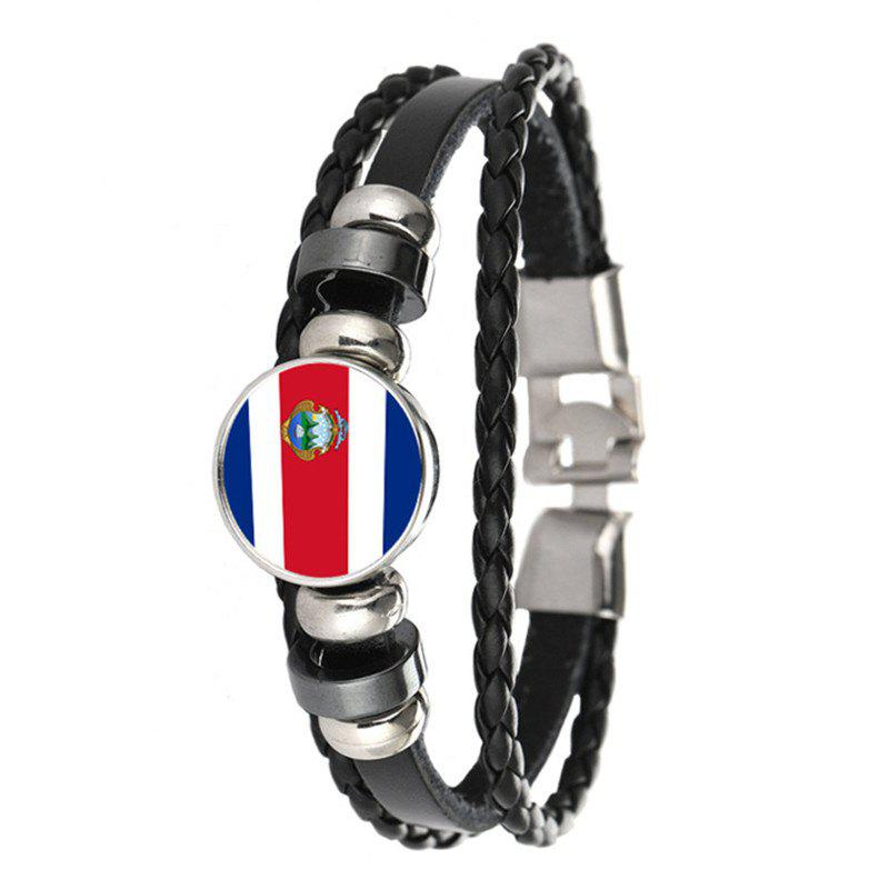 Mode Créative Knit Cuir Costa Rica Drapeau National Temps Gem Football Bracele