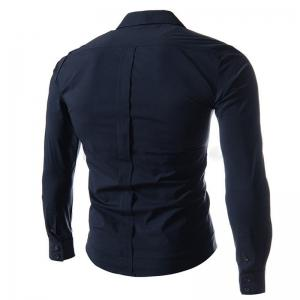 Oblique Buckle Long Sleeve Slim Men's Shirt -