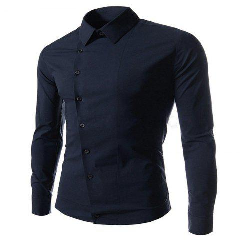 Unique Oblique Buckle Long Sleeve Slim Men's Shirt