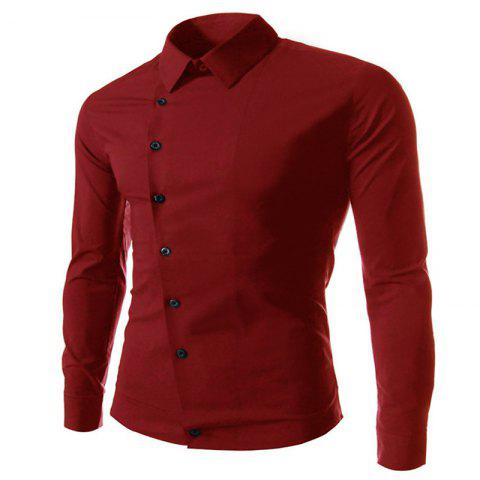 Buy Oblique Buckle Long Sleeve Slim Men's Shirt