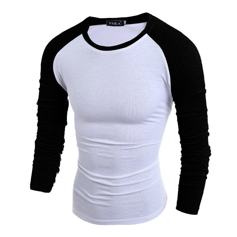 Online British Style Two-color Slim Long-sleeved T-shirt 8a28984a081