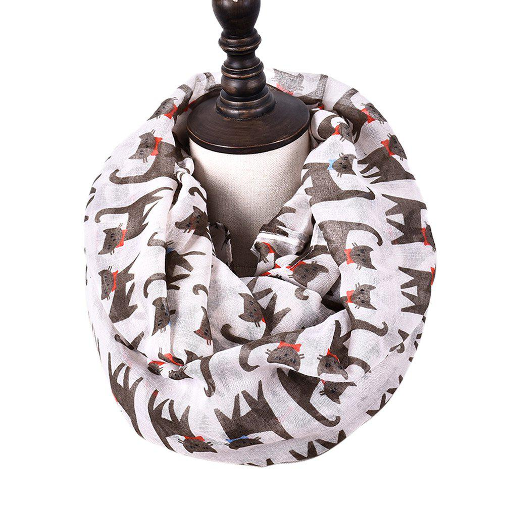 Shop Cartoon Print Candy Cat Viscose Scarf and Shawls
