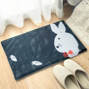 Cartoon Cute Little Rabbit Flannel Bath Mat -