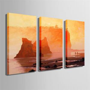Special Design Frameless Paintings Walk By The Sea Print 3PCS -