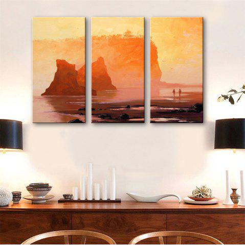 Store Special Design Frameless Paintings Walk By The Sea Print 3PCS