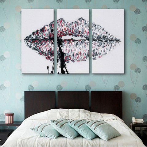 Hot Special Design Frameless Paintings Lips Print 3PCS