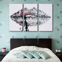 Special Design Frameless Paintings Lips Print 3PCS -