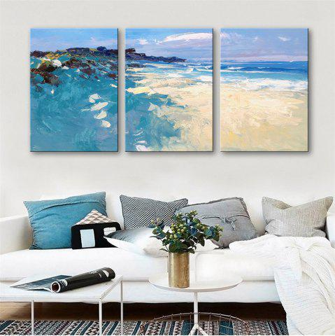 Trendy Special Design Frameless Paintings Seaside Scenery Print 3PCS