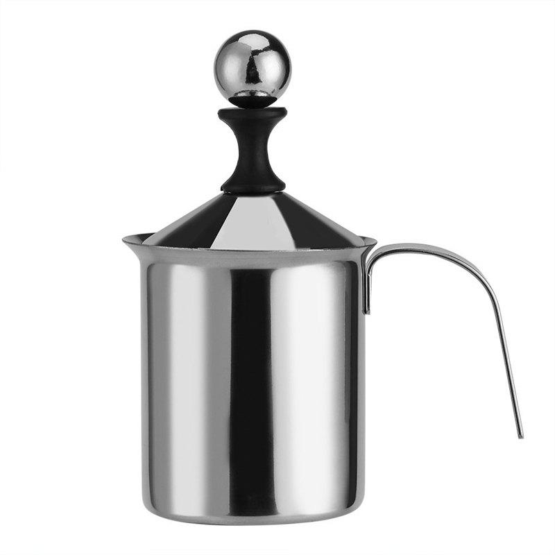 Latest 400ml Stainless Steel Creamer Pump Milk Frother Double Froth Foamer