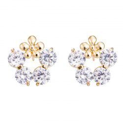 Zircon Earrings with Petals Ring ERZ0395 -
