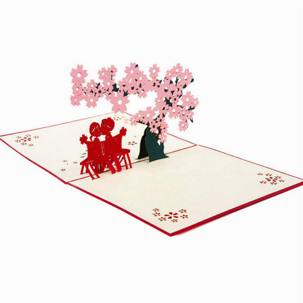 Cheap 3D Greeting Card Cherry Tree Love Valentine