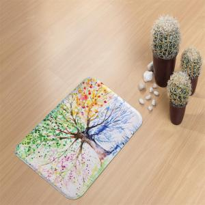Ink Colorful Tree Super Soft Non-Slip Bath Door Mat Machine Washable Quickly Dry -
