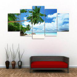 Island Beach 5PCS Frameless Printed Canvas Wall Art Paintings -
