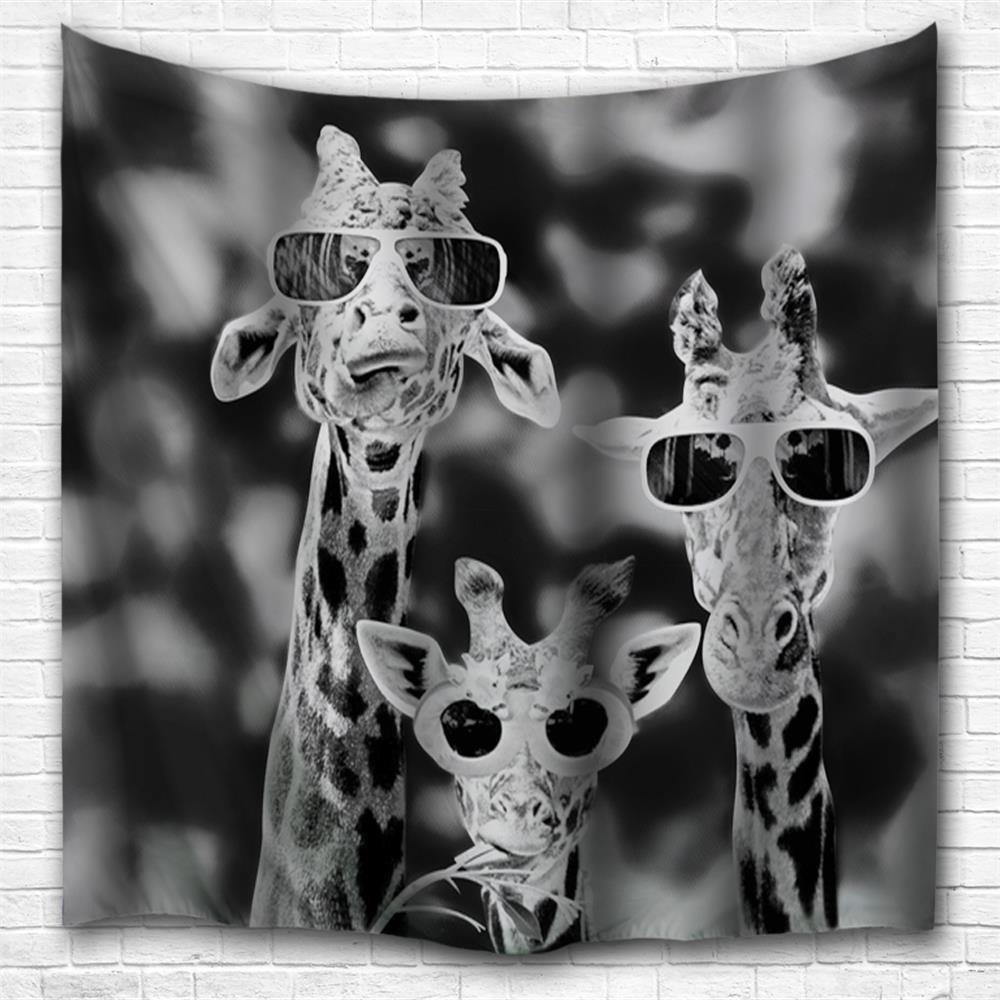 Trendy Sunglasses Giraffe 3D Printing Home Wall Hanging Tapestry for Decoration