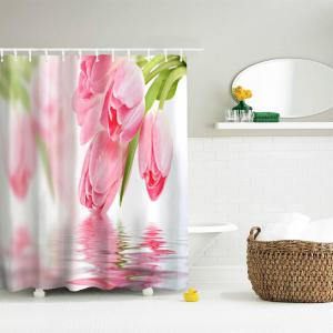 Tulip in Water Water-Proof Polyester 3D Printing Bathroom Shower Curtain -