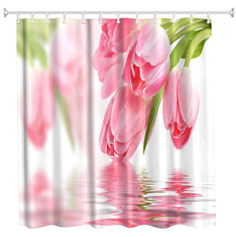 Cheap Tulip in Water Water-Proof Polyester 3D Printing Bathroom Shower Curtain