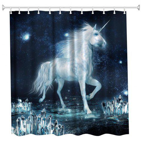 Buy The Unicorn on The Ice Water-Proof Polyester 3D Printing Bathroom Shower Curtain