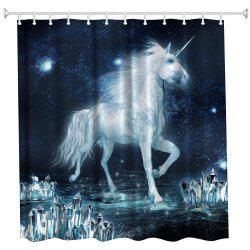 The Unicorn on The Ice Water-Proof Polyester 3D Printing Bathroom Shower Curtain -