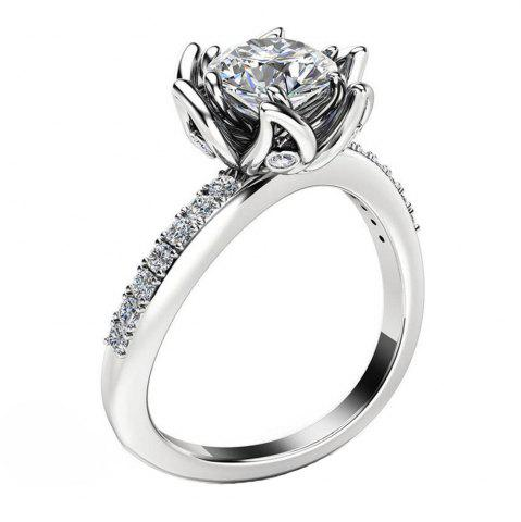 Chic Plant Flower Ringer Diamond Couple Ring