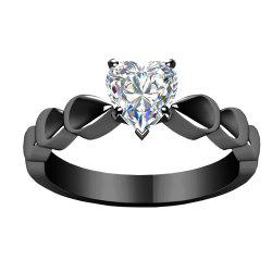 Heart - shaped Diamond Encrusted Couple Rings -